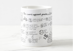 Comms Approval process: secret Santa communications mug