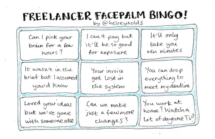 Freelancer facepalm bingo