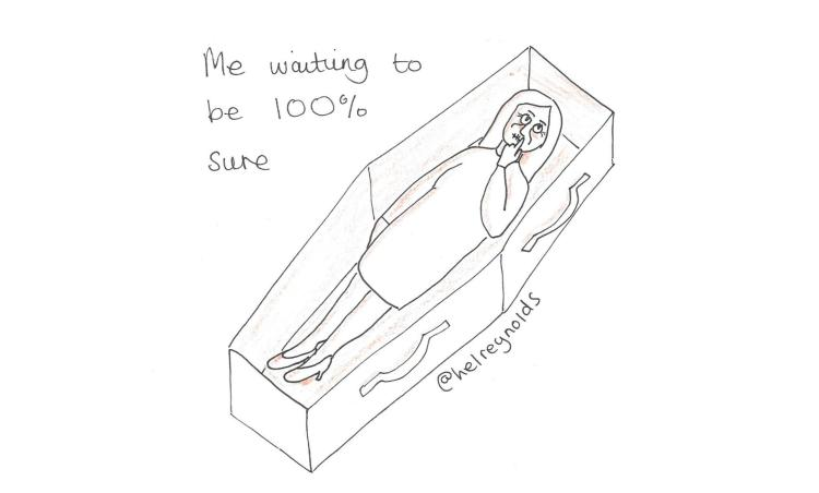 Building comms confidence cartoon: woman in coffin next to a caption: